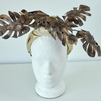 """Тюрбан-ободок с листьями из кожи """"Аурели"""""""