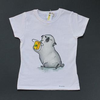 """Детская футболка """"Мопс с соком"""""""