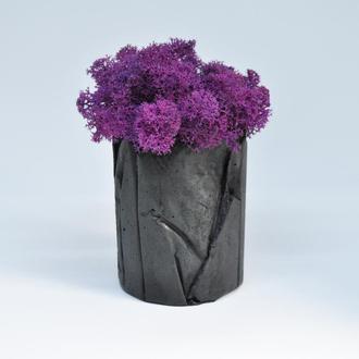 Бетонный горшок Вулкан и фиолетовый мох, подарок на НГ, подарок на 8 марта, сиреневый мох