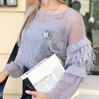 Ажурный свитер ручной вязки