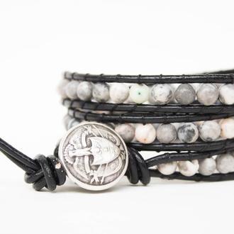 Спиральный браслет ручной работы чан лу chan luu из натуральных камней. яшма