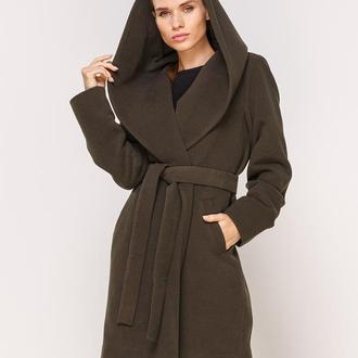 Пальто зеленое на запах