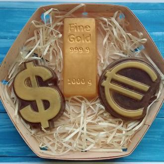Набір мила золото, євро, долар
