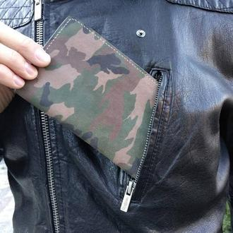 Портмоне кожаное клатч комуфляжный