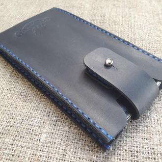 Чехол для телефона из темно-синей кожи H07-600+blue