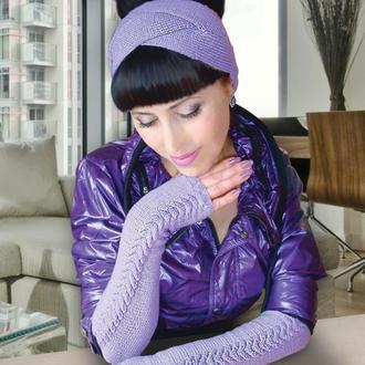 Стильный комплект: вязаные митенки- перчатки без пальцев и повязка на голову - Акция!