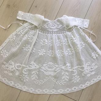 Длинное платье ручной работы на крестины, 0-3мес