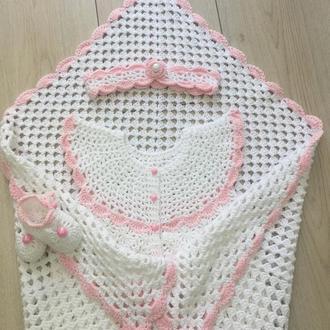 Бело-розовый набор для девочки на выписку из роддома, крестины, 0-6мес