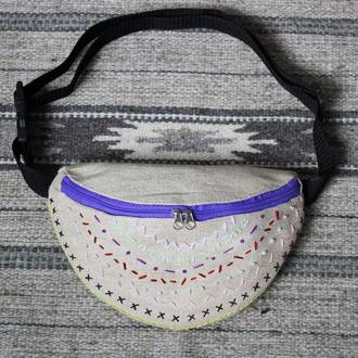 Поясная сумка с вышивкой ручной работы, бананка из плотной ткани, сумка на пояс