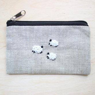 """Льняной кошелек с вышивкой ручной работы """"Овечки"""", кошелек для мелочи, чехол для карточек"""