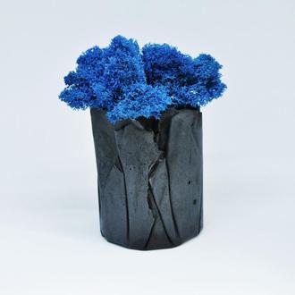 """Горшок """"Вулкан"""" и синий скандинавский мох, подарок на Новый Год, подарок на 8 марта, сувенир"""