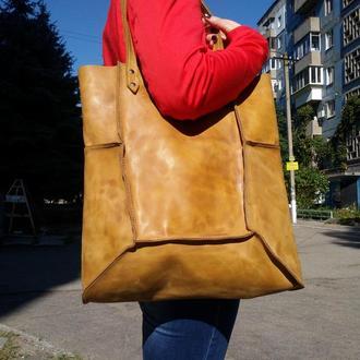 Жёлтая кожаная сумка Шоппер с11 (10 цветов)