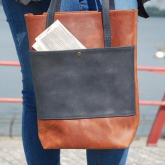 Кожаная сумка коньячно-синего цвета Шоппер с17 (10 цветов)
