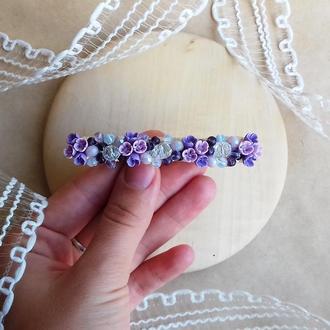 Заколка с миниатюрными цветами, цветочное украшение для волос, подарок девушке, 8 см