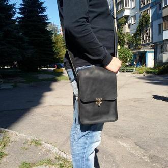 Чёрная кожаная сумка через плечо с12 (10 цветов)