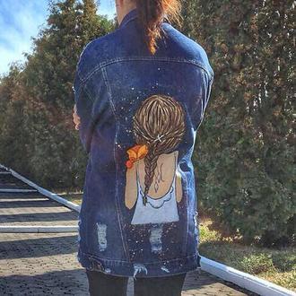 Модная джинсовая куртка с рисунком ручной росписью на заказ