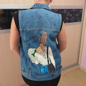 Рисунок на джинсовке по индивидуальному заказу