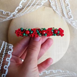 Красно зеленая заколка с цветами, цветочное украшение для волос, подарок девушке, 8 см