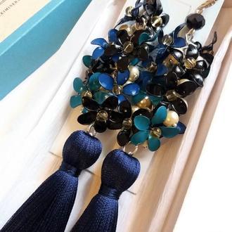 Серьги кисти длинные с цветами ЭМАЛЬ сережки кисточки (ручная работа)