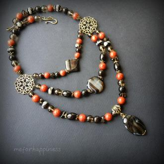 Ожерелье Летние сумерки Коралл агат и раухтопаз
