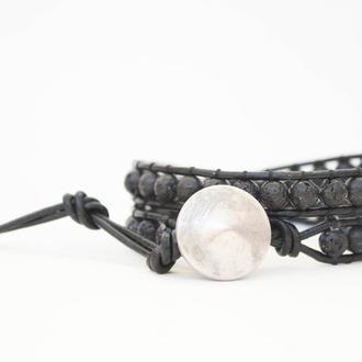 Спиральный браслет ручной работы чан лу chan luu из натуральных камней. вулканическая лава
