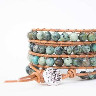 Спиральный браслет ручной работы чан лу chan luu из натуральных камней. африканская бирюза