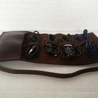 Кожаный органайзер для проводов (10 цветов) чехол для наушников чехол для зарядки чехол для проводов