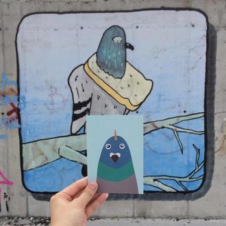 Открытка с голубем-единорогом