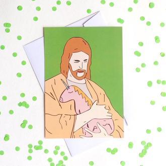 Открытка с Иисусом и единорогом