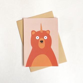 Открытка с медведем-единорогом