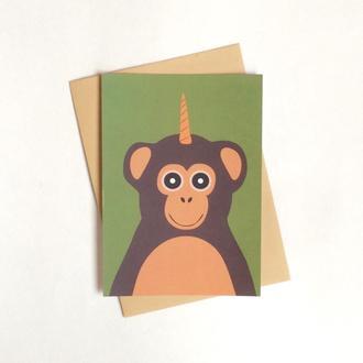 Открытка с обезьяной-единорогом