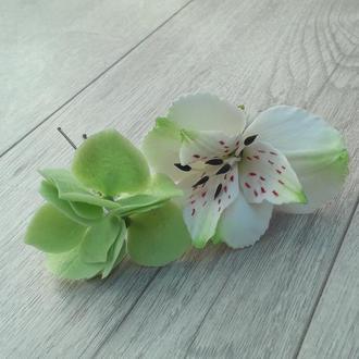 Альстромерия и гортензия из холодного фарфора. Реалистичные цветы в волосы. Прическа невесте.