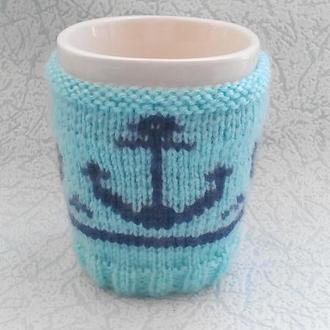 Вязанная грелка для чашки