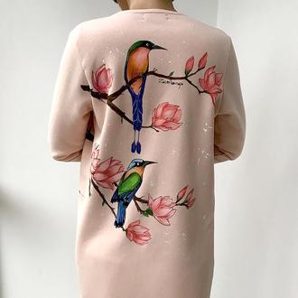 кардиган с ручной росписью