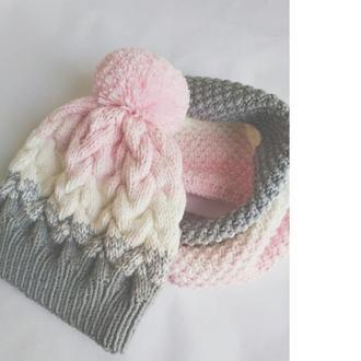 Детская шапка на осень, вязаная шапка на девочку. Комплект, шапочка и снуд