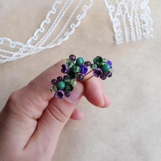 Шпильки з квітами, мініатюрні квіти, прикраса для волосся