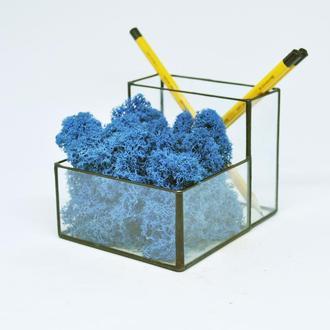 Карандашница, органайзер для современного офиса и синий мох
