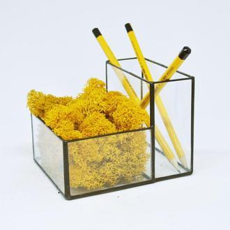 Органайзер, карандашница из стекла (Мосариум) под карандаши и ручки и оранжевый мох