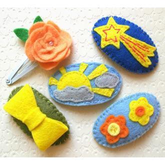 набор заколок ручной работы для девочек, жёлто-оранжевые цвета