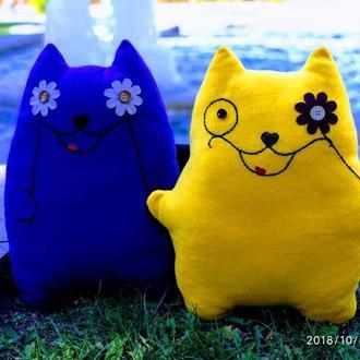 Кот-подушка, сине-желтые коты-подушки, декоративные подушки для автомобиля, флисовые игрушки