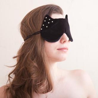 Маска для сна купить Украина, Черная маска для сна звезды, Подарок женщине