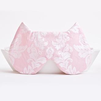 Розовая маска для сна кошка