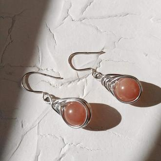 Сережки з натуральним каменем на срібному гачку