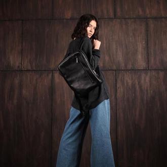 Стильный городской кожаный рюкзак (унисекс)