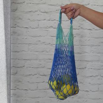 Авоська в синих тонах, сумка для покупок, экосумка
