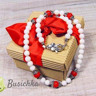 Бусы White Red