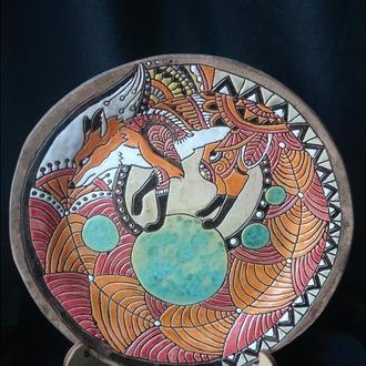 тарелка с графическим лисом
