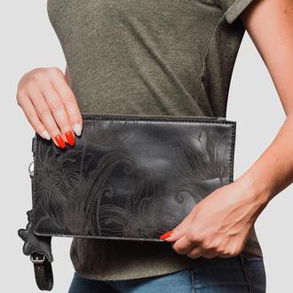 клатч жіночий чорний шкіряний | Nata flowers black clutch