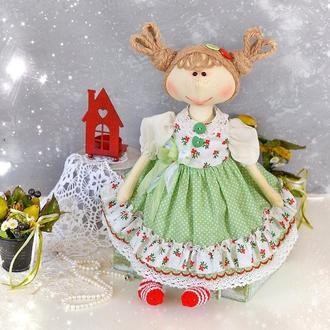 Текстильная игровая  кукла  в платье. Куколка тыквоголовка  в подарок девочке. Кукла авторская.