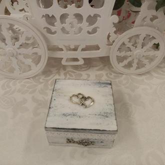 Шкатулка для обручальных колец Коробочка для колец на свадьбу Свадьба в стиле Прованс Рустик Шебби